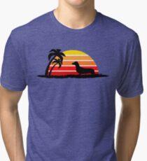Dachshund on Sunset Beach Tri-blend T-Shirt