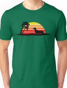 Dachshund on Sunset Beach Unisex T-Shirt