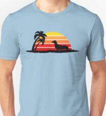 Dachshund on Sunset Beach T-Shirt