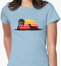 Dachshund on Sunset Beach Women's Fitted T-Shirt
