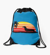 Dachshund on Sunset Beach Drawstring Bag