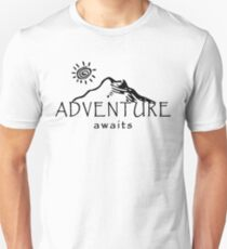 Adventure Awaits - Mountain and Sun ( Dark Version)  Unisex T-Shirt