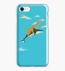 Giraffe riding shark iPhone Case/Skin