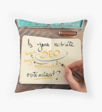Handwritten text Is your Website SEO optimized ? Throw Pillow