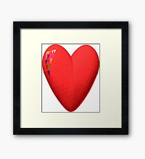 three-dimensional model of the heart valentines Framed Print