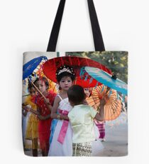 Girls in Shinbyu Parade in Bawdhitahtaung. (Myanmar) Tote Bag