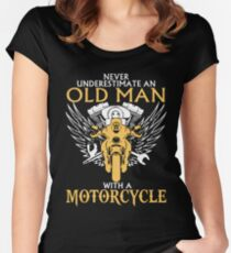 Never Underestimate Old Man With A Motorcycle Fitted Scoop T-Shirt