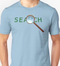 magnifying glass in a gold frame with a wooden handle T-Shirt