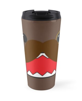 domo with a monicle travel mugs by xxprettysellsxx redbubble