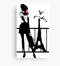 Retro woman red and black silhouette Canvas Print