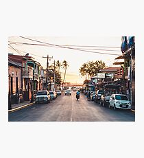 Sun sets in the village Photographic Print