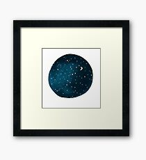 the stars, the moon, they have all been blown out Framed Print