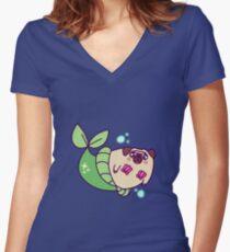Pug Mermaid Women's Fitted V-Neck T-Shirt