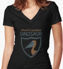 Honest-To-Goodness Dinosaur: Pelican (on dark background) Women's Fitted V-Neck T-Shirt