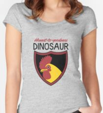 Honest-To-Goodness Dinosaur: Rooster (on light background) Women's Fitted Scoop T-Shirt