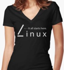 Linux - It all starts here Women's Fitted V-Neck T-Shirt