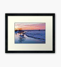 Winter dusk on the river Framed Print