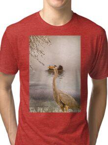 Great Blue Heron at Dusk Tri-blend T-Shirt