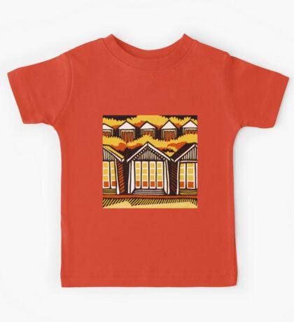 Beach Huts - Summer - Original Linocut by Francesca Whetnall Kids Clothes