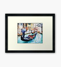 Gondola on a canal in Venice, Italy Framed Print