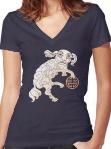 Long Life White Cloud Foo Dog Women's Fitted V-Neck T-Shirt