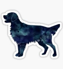 Golden Retriever and Flat-Coated Retriever Black Watercolor Silhouette Sticker