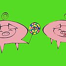 The Giving Pig with green background by AdrienneAllen