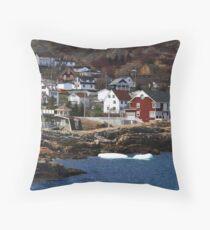 Homes on the shore of Brigus Cove Newfoundland Throw Pillow