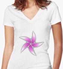 Star Flower Women's Fitted V-Neck T-Shirt