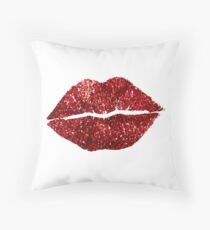 Red Glitter Lips Throw Pillow