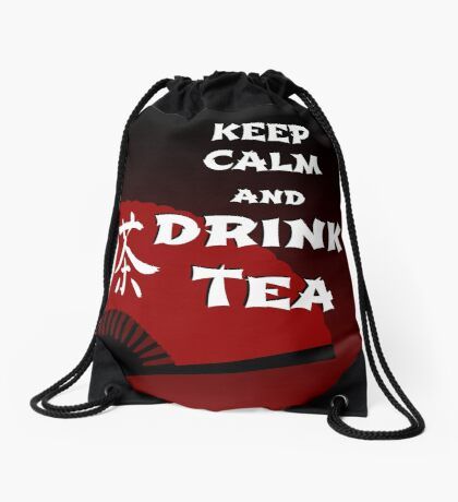 Keep Calm and Drink Tea - dark asia edition Drawstring Bag