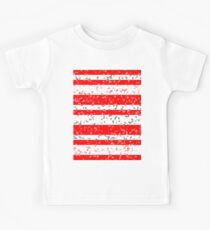Red White Stripe Patchy Marble Pattern Kids Tee