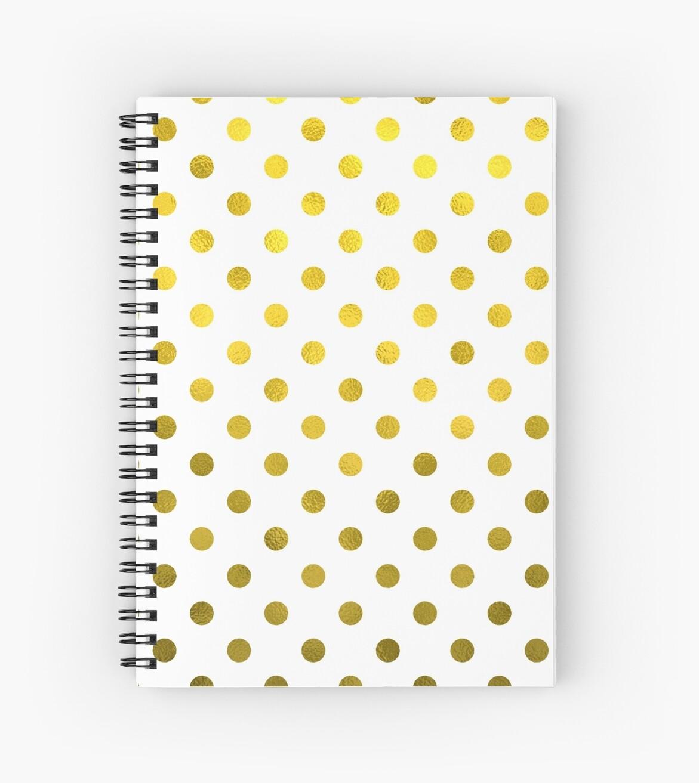 Gold White Polka Dot Pattern Digital Paper by SilverSpiral
