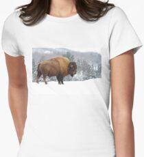 Buffalo in Winter Womens Fitted T-Shirt