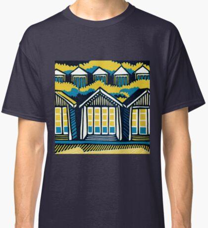 Beach Huts, Bournemouth -  Teal and Mustard - Original Linocut by Francesca Whetnall Classic T-Shirt