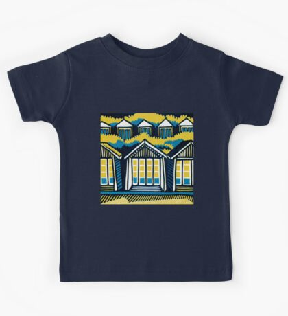 Beach Huts, Bournemouth -  Teal and Mustard - Original Linocut by Francesca Whetnall Kids Clothes