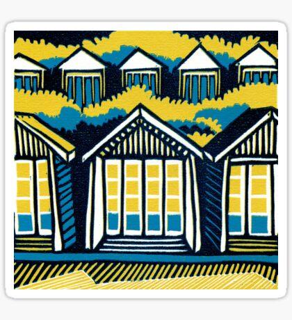 Beach Huts, Bournemouth -  Teal and Mustard - Original Linocut by Francesca Whetnall Sticker