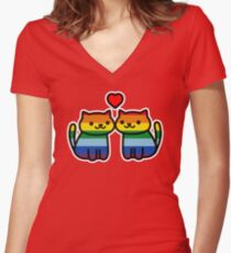 Camiseta entallada de cuello en V Neko Atsume Gay Pride Merch