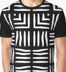 White and Black Woven Tapestry Design Graphic T-Shirt