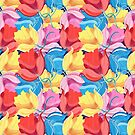 Graphic pattern of colorful flowers by Tanor