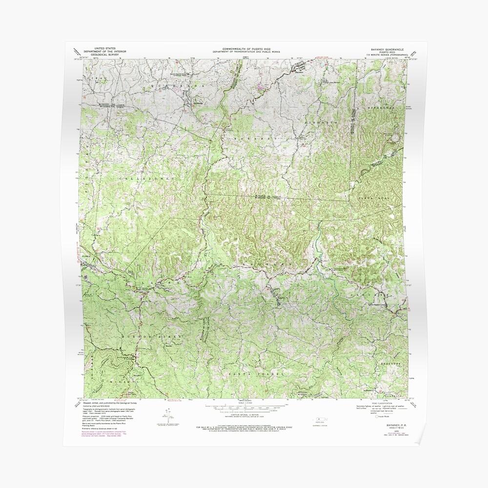 USGS TOPO Map Puerto Rico PR Bayaney 362049 1970 20000 Póster