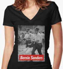 bernie sanders arrested 1963 Women's Fitted V-Neck T-Shirt