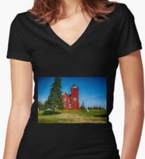 Two Harbors  Women's Fitted V-Neck T-Shirt