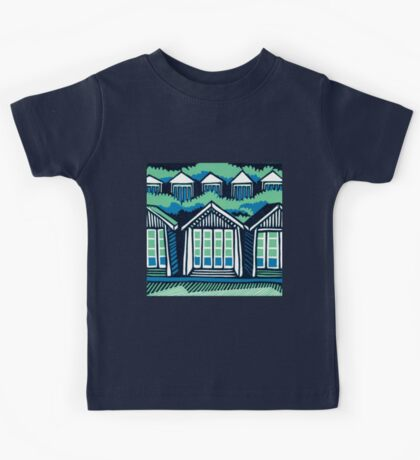 Beach Huts - Blue and Turquoise - Original Linocut by Francesca Whetnall Kids Clothes