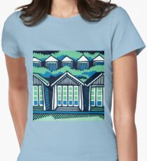 Beach Huts - Blue & Turquoise Womens Fitted T-Shirt