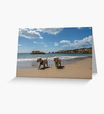 Pals strolling on the beach Greeting Card