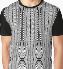 Black and White Art Deco Wishbone Tribal Pattern Graphic T-Shirt
