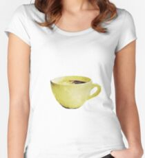 Coffee Cup in Watercolor Women's Fitted Scoop T-Shirt