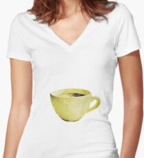Coffee Cup in Watercolor Women's Fitted V-Neck T-Shirt