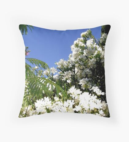 White Oleanders Throw Pillow